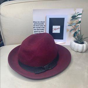 Forever 21 burgundy bow fedora warm hat